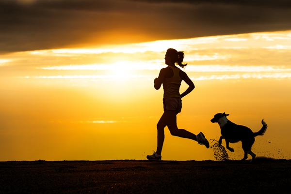 Running at Sunset with a Dog