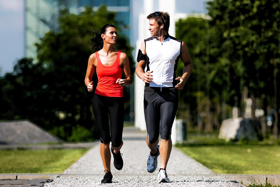 Couple Running Confidently