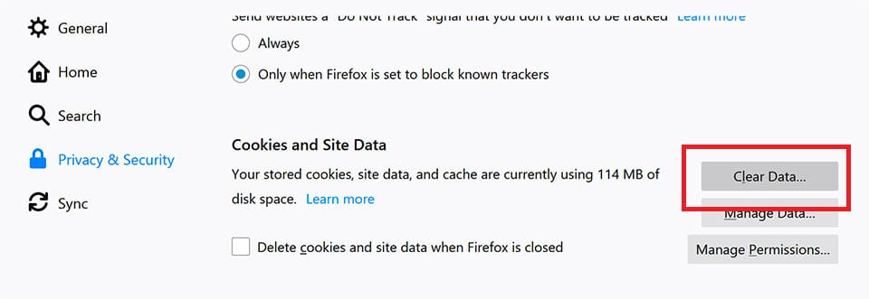 Firefox - Clear Cookies and Site Data
