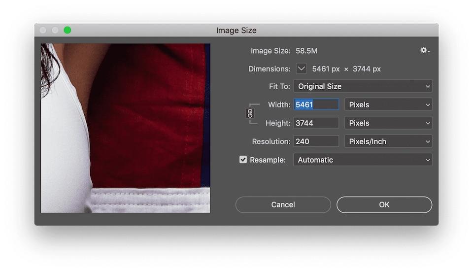 Photoshop Image Size Dialog