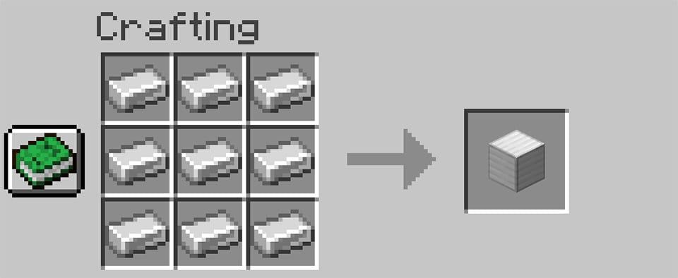 crafting iron block from iron ingots